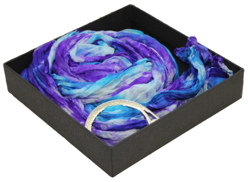 Ladycrow Silk Pongee Silk Scarf with Pewter Ring in Gift Box FCB