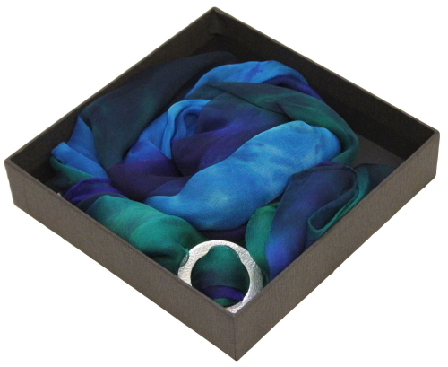 Ladycrow Gossamer Silk Scarf in Gift Box with small Pewter Scarf Ring FBADFBR