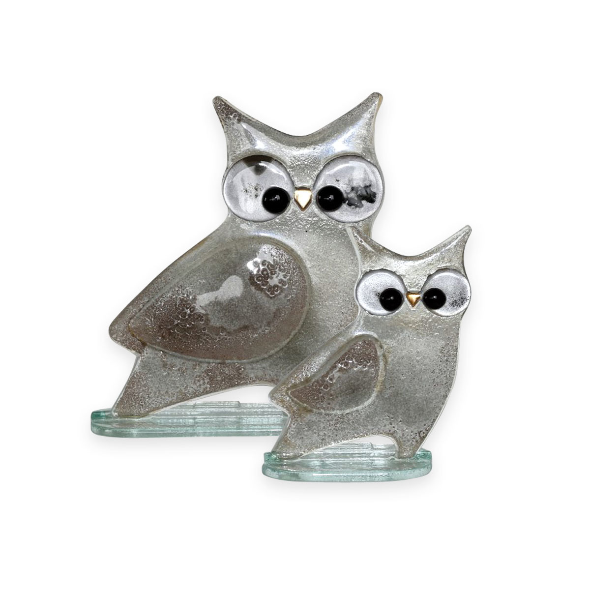 Nobile Glass Fused Glass Owl Silver Large 1564-16