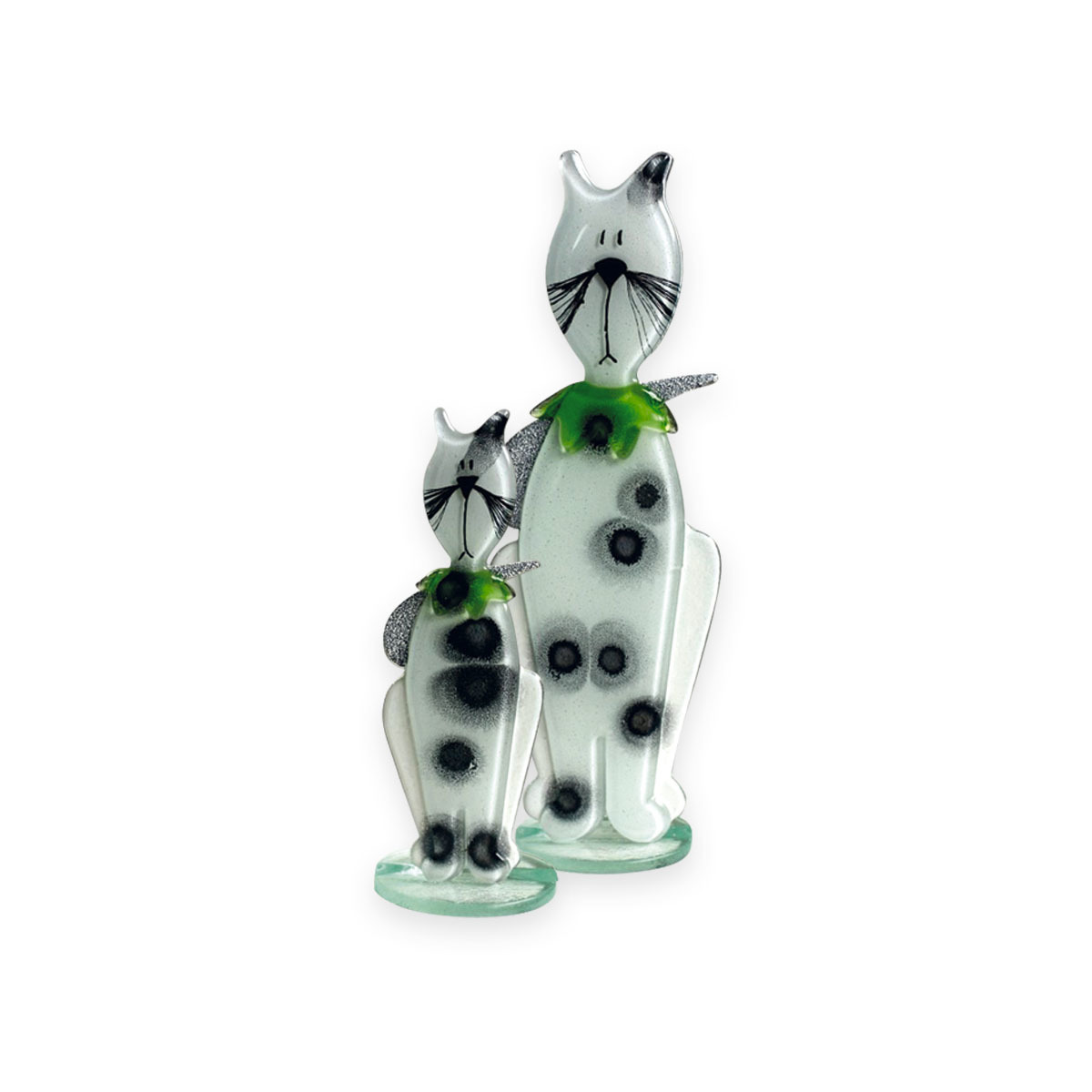 Nobile Glass Fused Glass Kitten White/Green Small 593-11