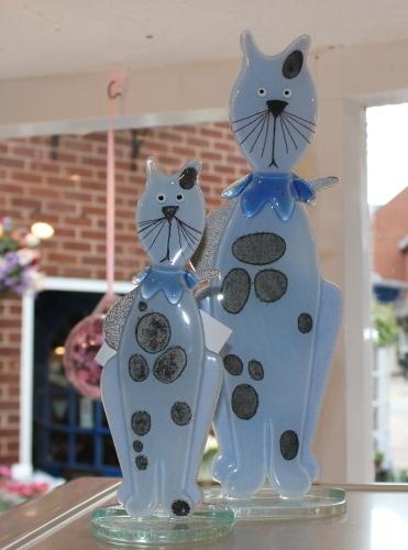 Nobile Glass Fused Glass Kitten Blue Small