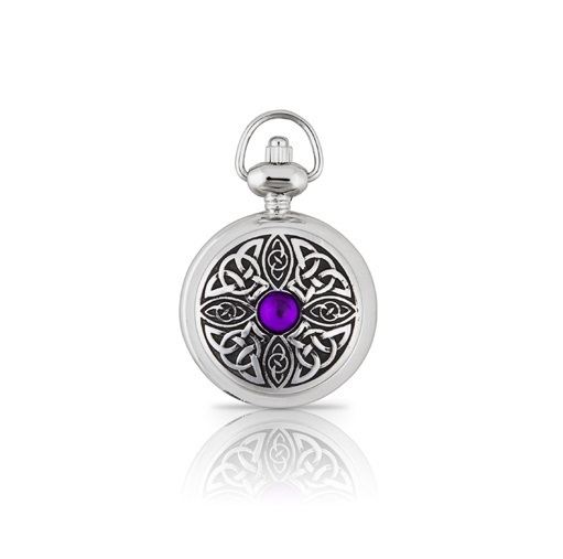 A E Williams Ladies Pendant Watch with Celtic Knot and Stone 5957P