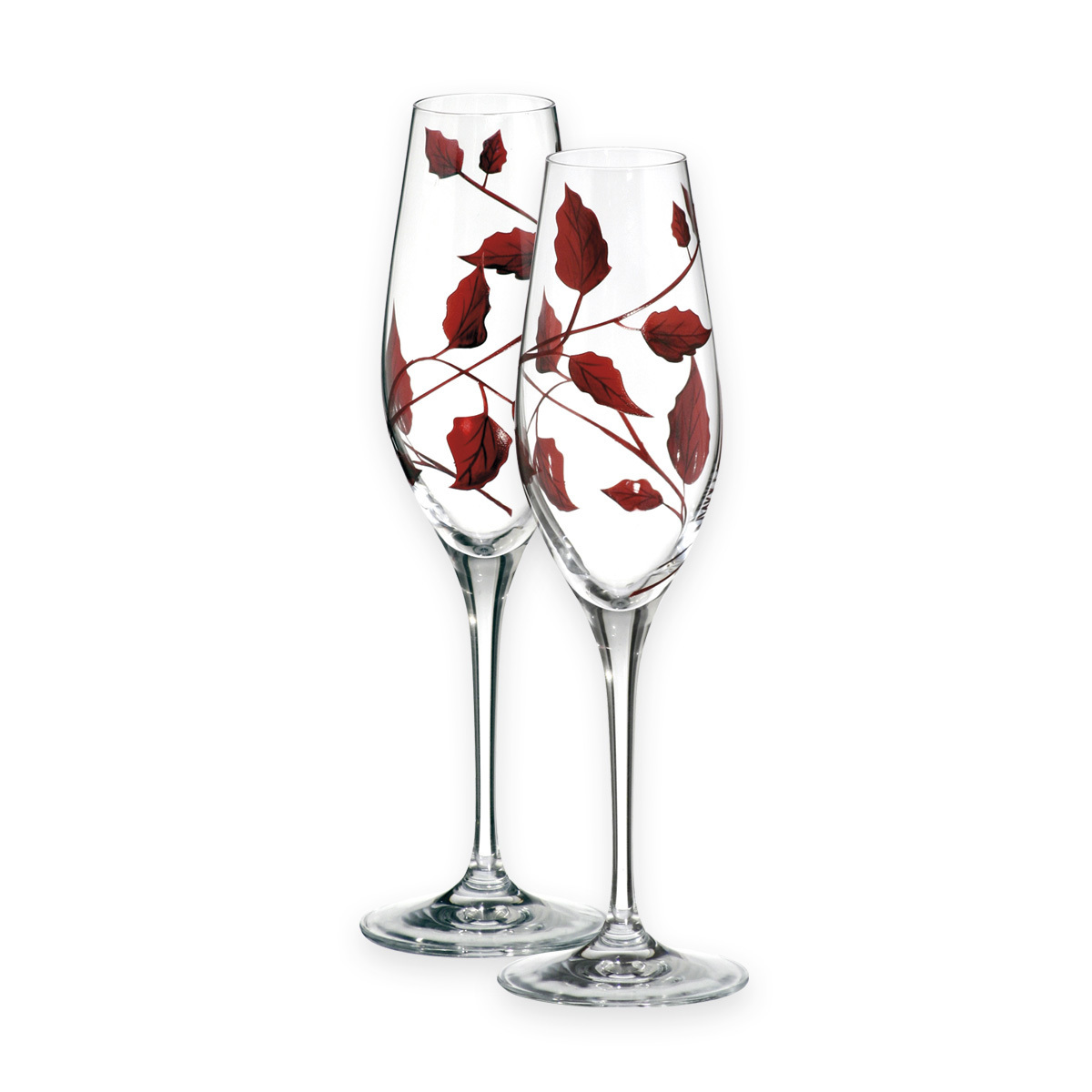 Nobile Ruby Leaf Champagne Glasses Pair 1456-15