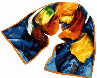 Fox and Chave Long Crepe de Chine Silk Scarf -Cezanne Fruit