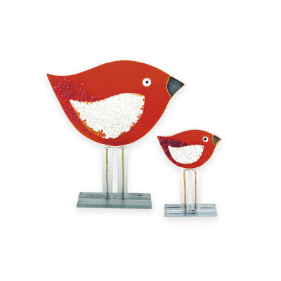 Nobile Glass Large Fused Red Bird Ornament