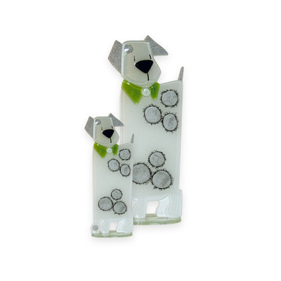 Nobile Glass Fused Glass Puppy White/Green Small