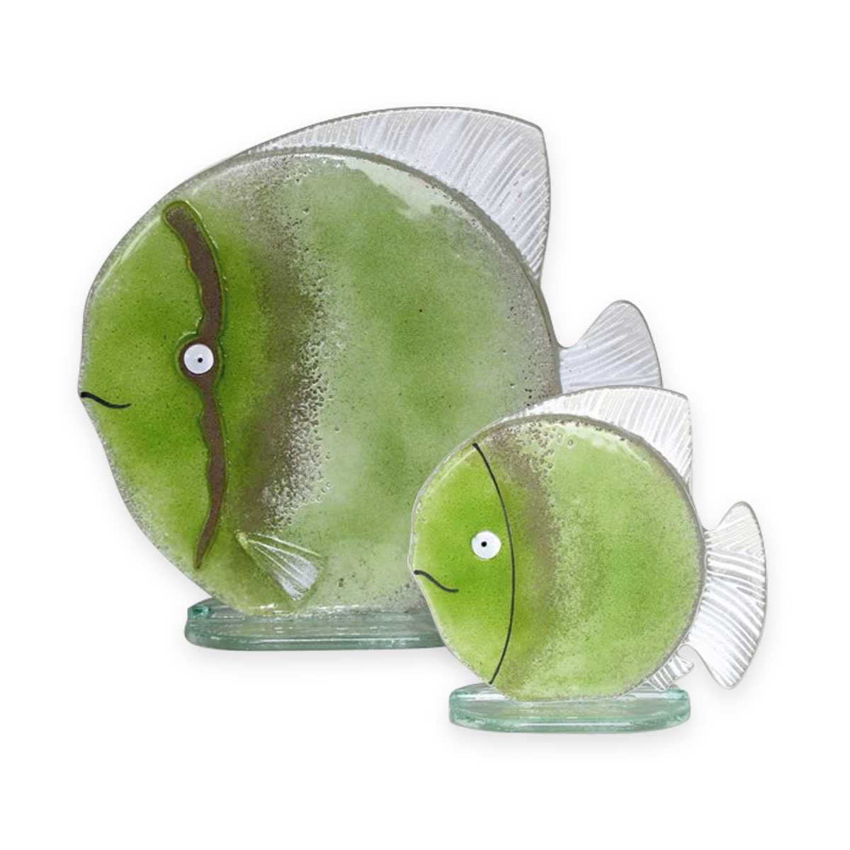 Nobile Glass Fused Glass Fish Green Small 1539-16