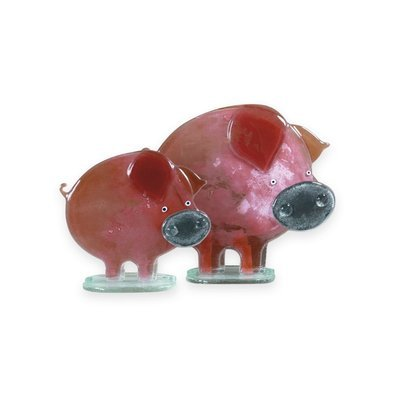 Nobile Fused Glass Pig- Porky Blush Small