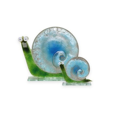 Nobile Glass Fused Glass Snail Ocean Blue Large
