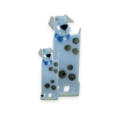 Nobile Glass Fused Glass Dog Blue Large