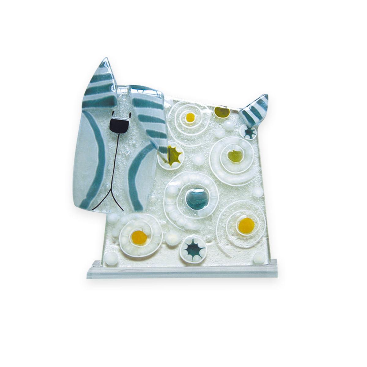 Nobile Fused Glass Dog -Stripes & Spots Blue 184