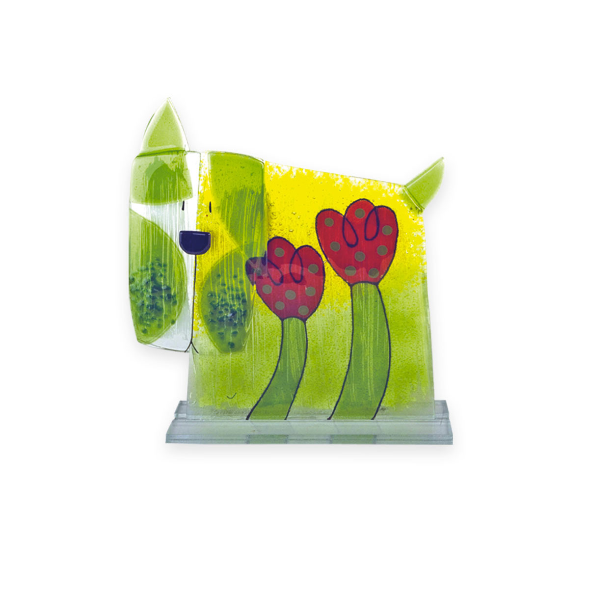 Nobile Fused Glass Dog - Flower 223-N10