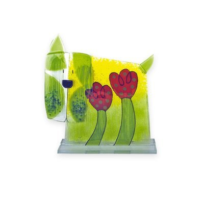 Nobile Fused Glass Dog - Flower
