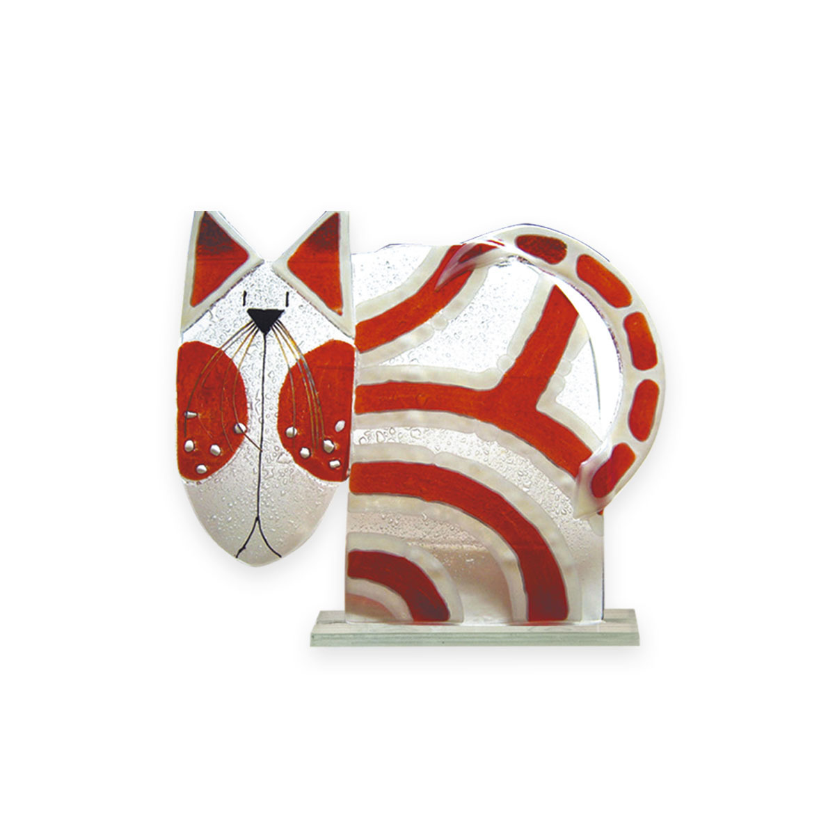 Nobile Fused Glass Cat - Red Stripe 195