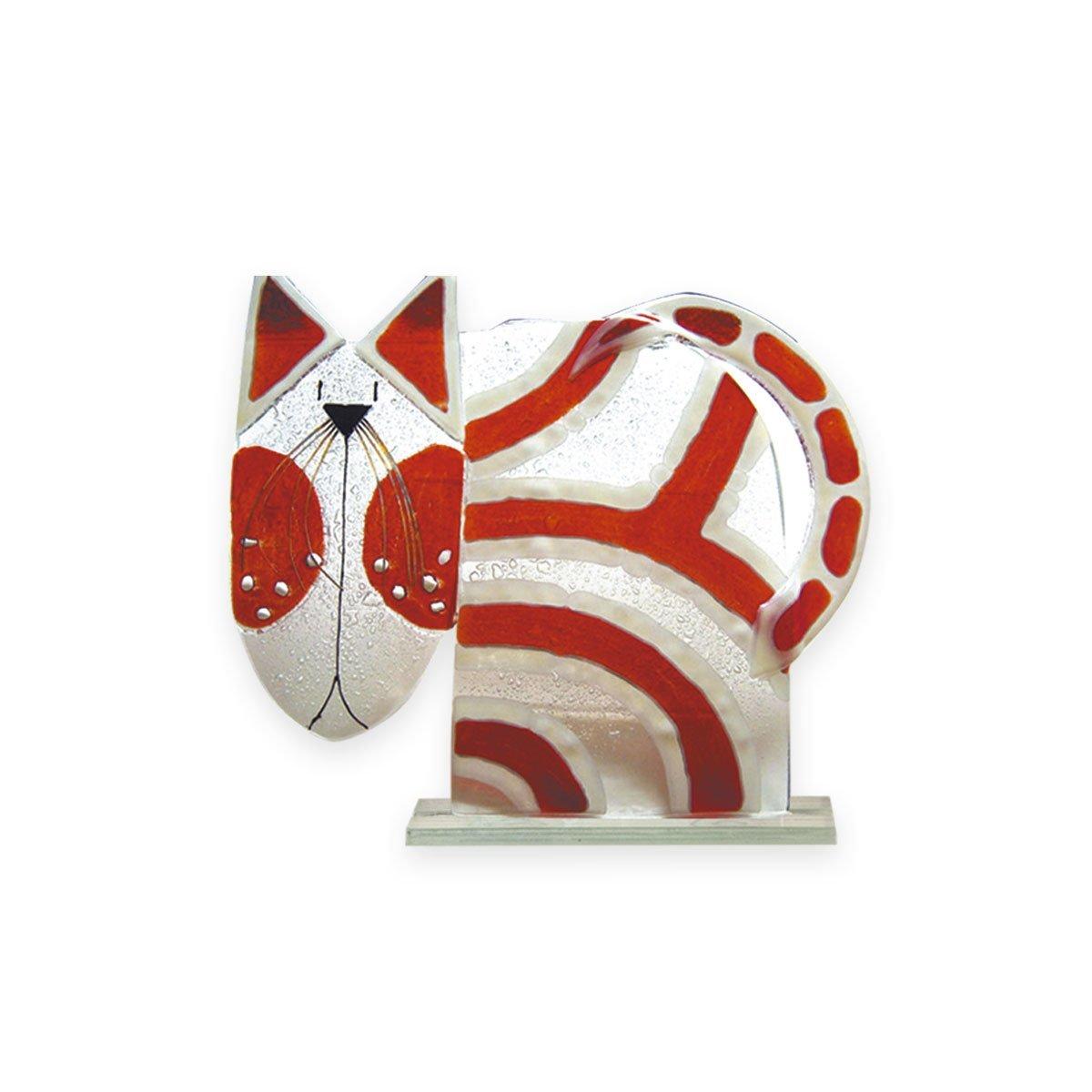Nobile Fused Glass Cat - Red Stripe