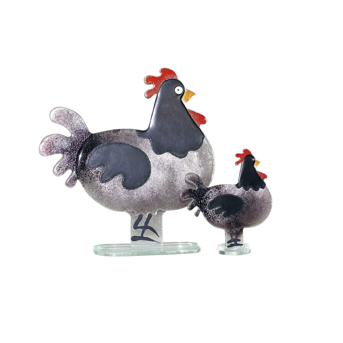 Nobile Fused Glass Hen Black - Small 1071-14