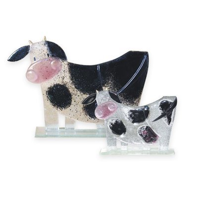 Nobile Fused Glass Moo Moo Black large