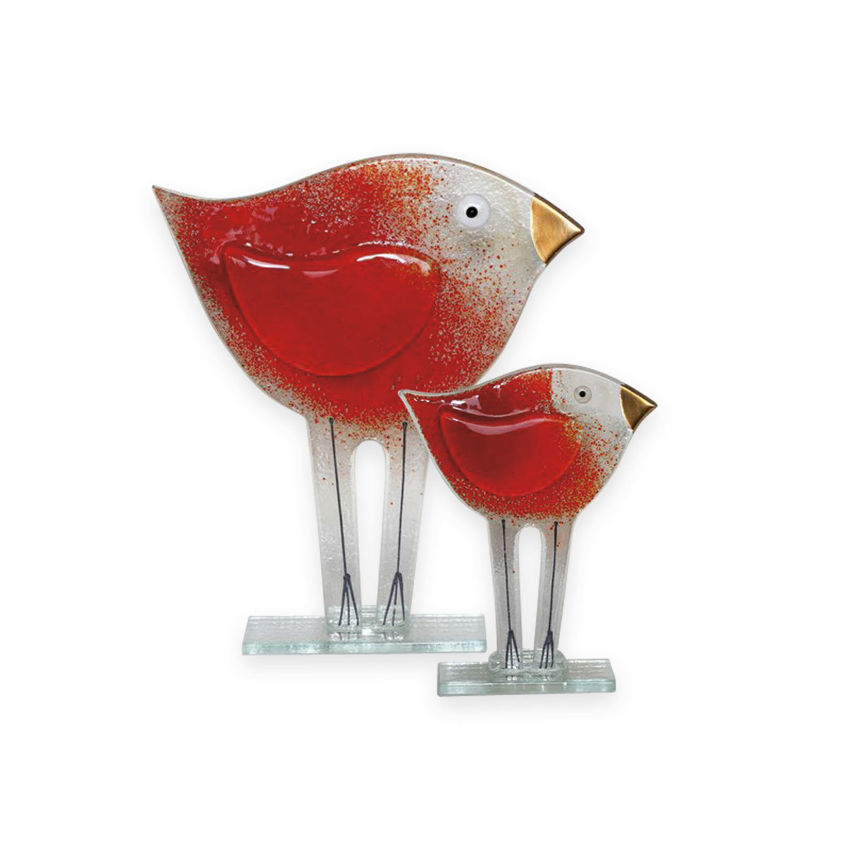 Nobile Glass Fused Glass Bird Rosso Large