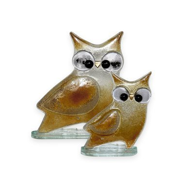 Nobile Glass Fused Glass Owl Gold Small