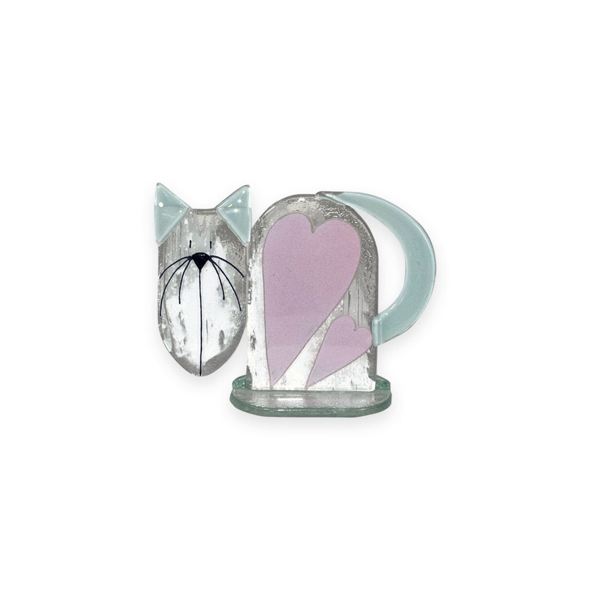 Nobile Fused Glass Cat Heart Pink 711-12