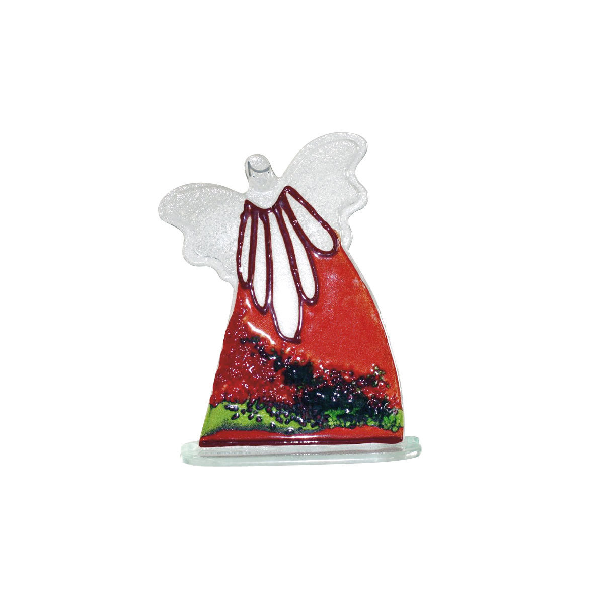 Nobile Glass Large Fused Glass Red Angel 1101-14