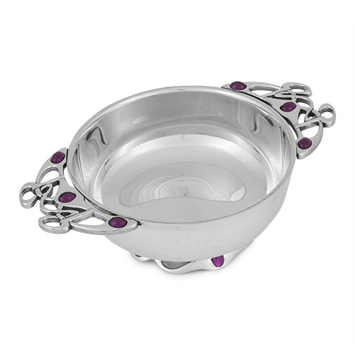 Quaich Bowl in Gothic Design with Pink Stone 2016 from A E Williams