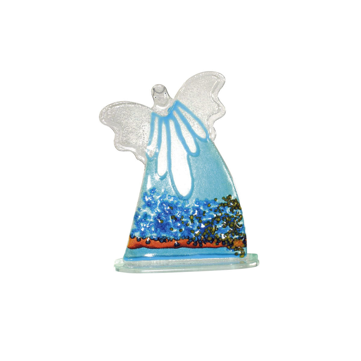 Nobile Glass Large Fused Glass Turquoise Angel