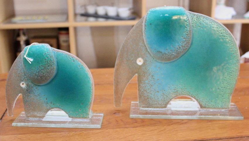 Nobile Fused Glass Elephant Large Blue 1759-17a