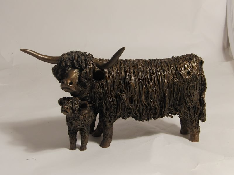 Highland Cow & Calf Standing  - Frith Sculpture VB027