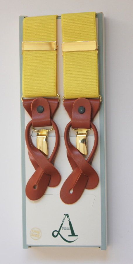 Plain Yellow Braces with Leather Tabs and Clips FBA1916