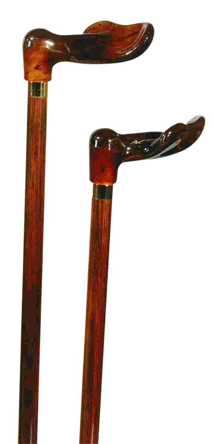 Classic Canes Amber-effect orthopaedic handle on hardwood cane - Right 3601R