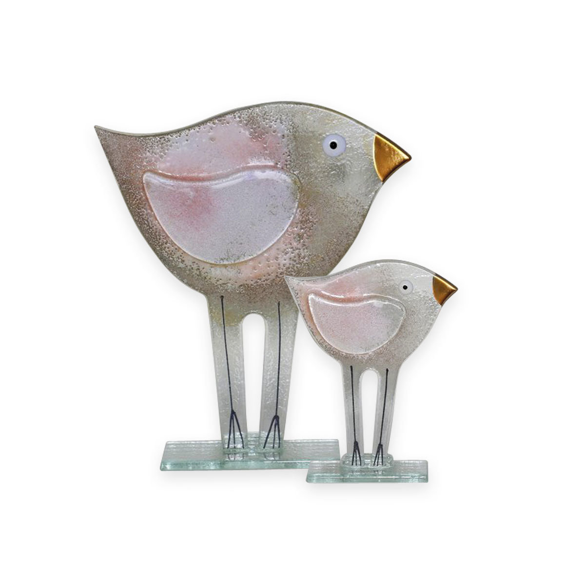 Nobile Glass Fused Glass Bird Pink Large 1543-16