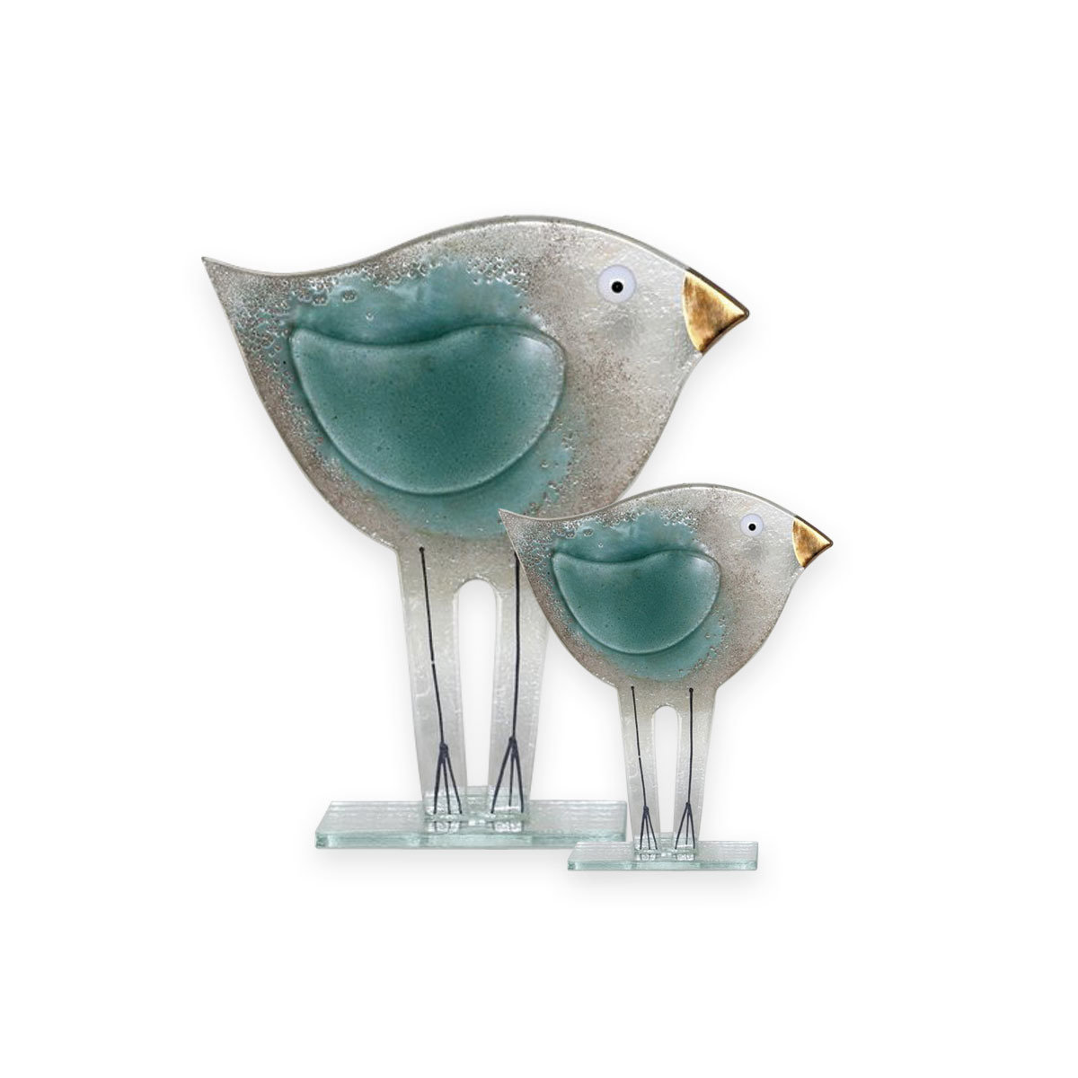 Nobile Glass Fused Glass Bird Teal Small 1552-16