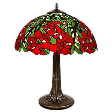 "16"" Poinsettia Red Green Tiffany Table Lamp BTPO16TL"