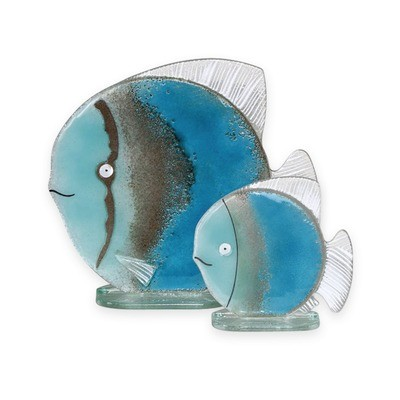 Nobile Glass Fused Glass Fish Blue Large