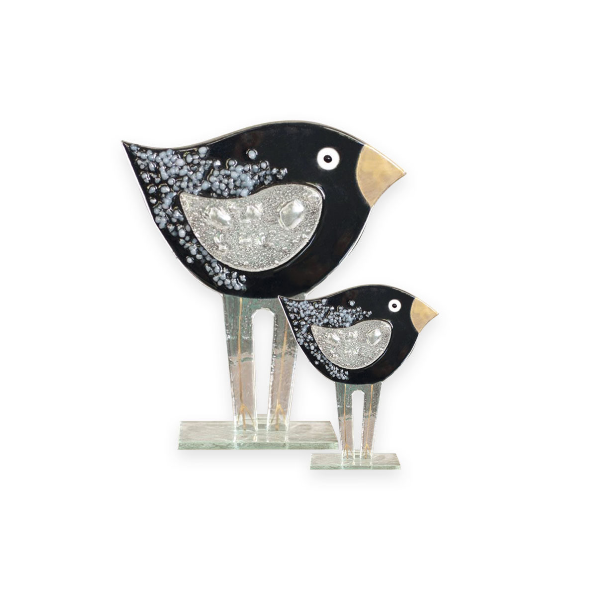 Nobile Glass Large Fused Black Bird Ornament