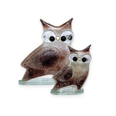 Nobile Glass Fused Glass Owl Brown Large
