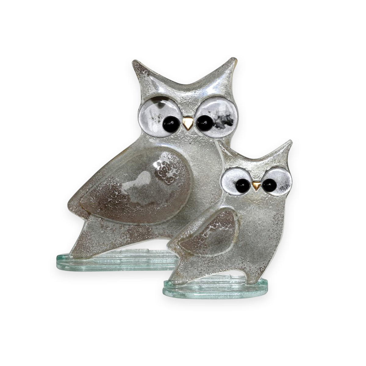 Nobile Glass Fused Glass Owl Silver Small