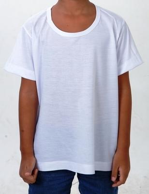 Camiseta em Malha 100% Poliéster Lisa - Branca (Infantil) a8d1e270a8f5b