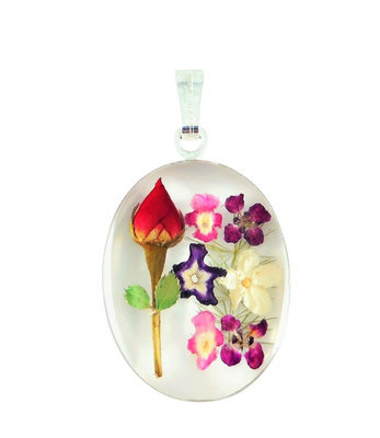 Real rose pendants 78b w rmf medium oval pendant rhodium plated white background with mozeypictures Images