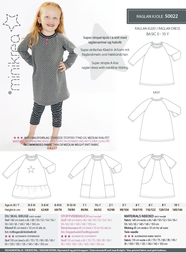 Sewing pattern for Raglan dress