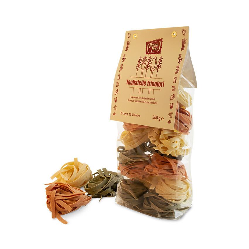 "Traditionelle, italienische Pasta Tagliatelle ""tricolori"" - aus Hartweizengrieß (100g/0,80€)"