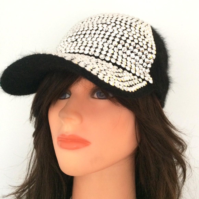 Black furry bejeweled furry cap #2