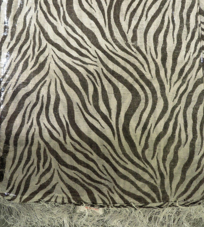 White and brown zebra print shimmering tichel