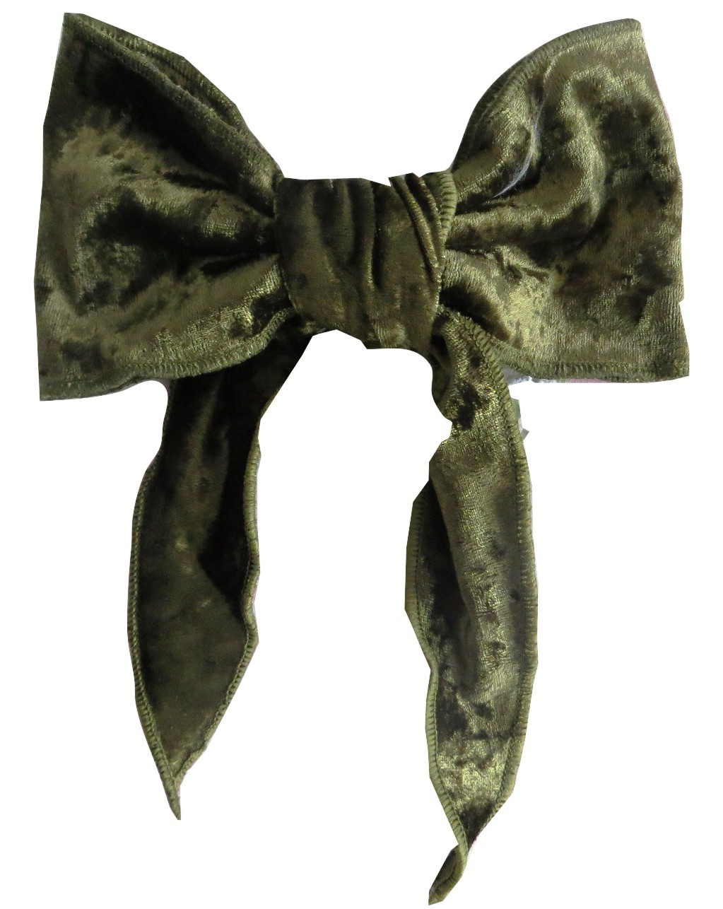 Green velvet bow with tails