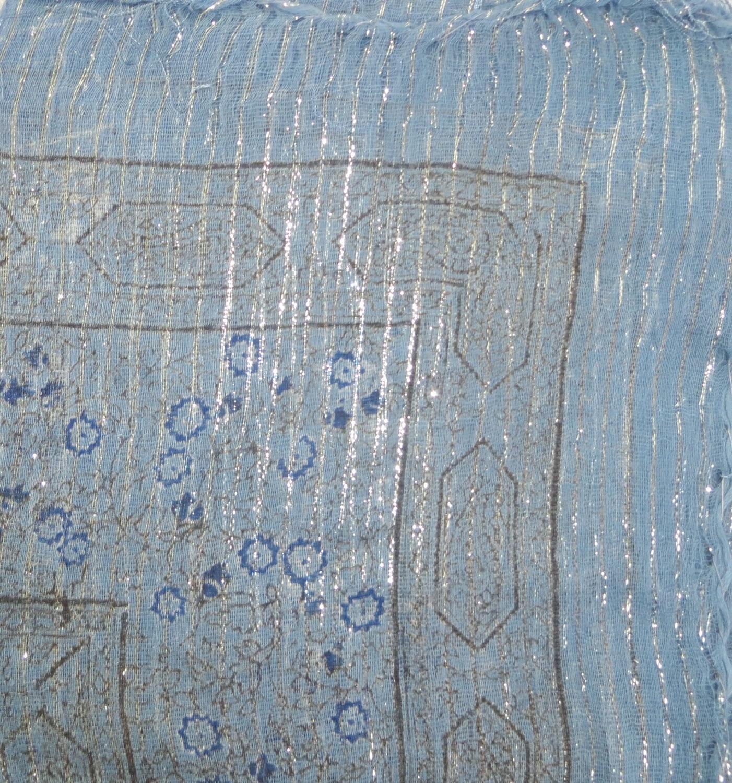 Denim blue lurex tichel with blue berry flowers