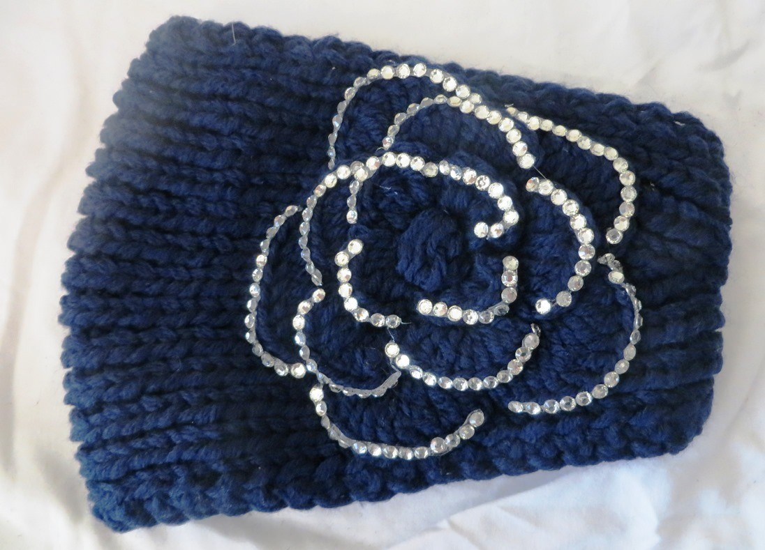 Navy blue sparkling head wrap