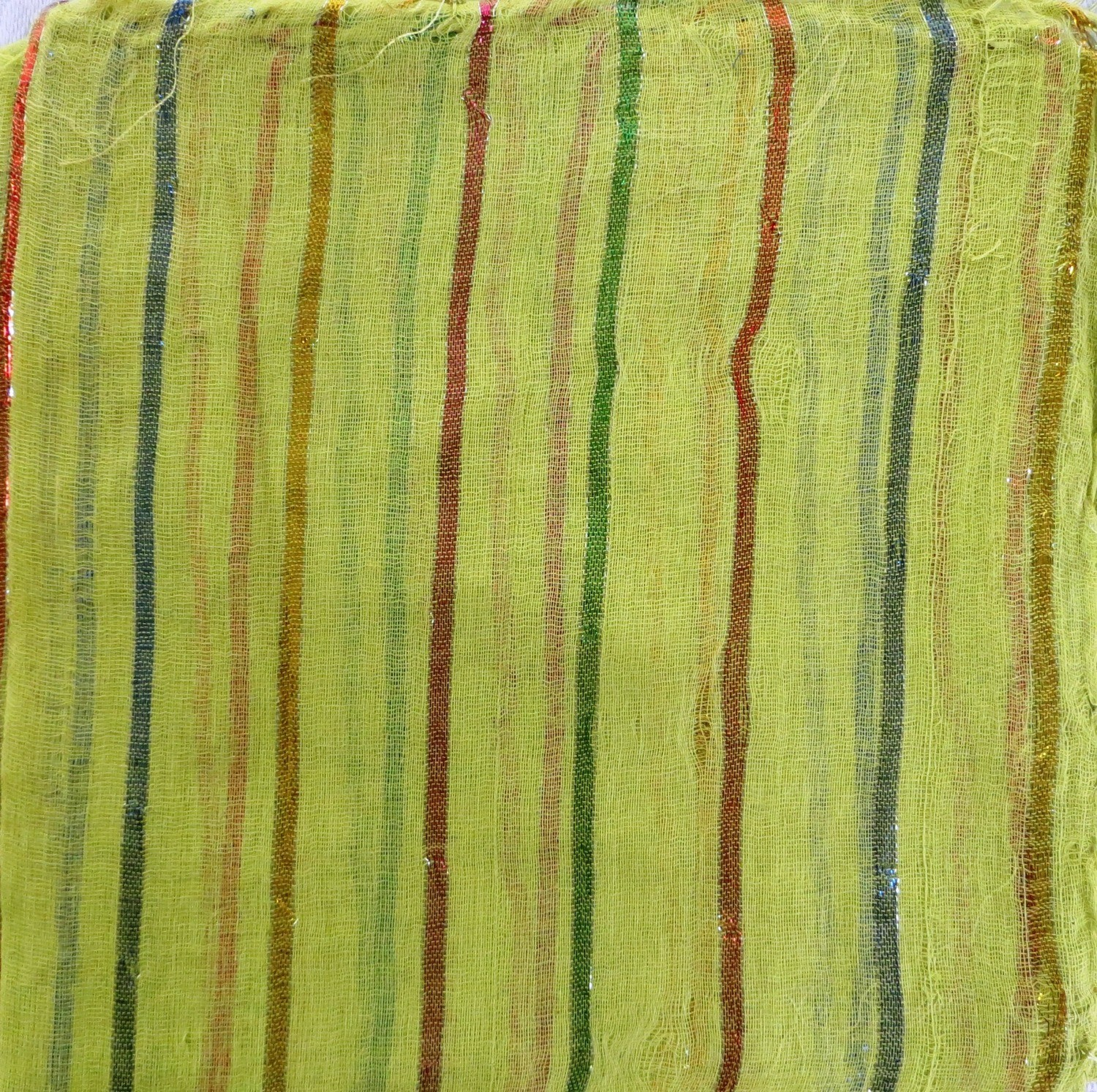 light green basic tichel with thick stripes