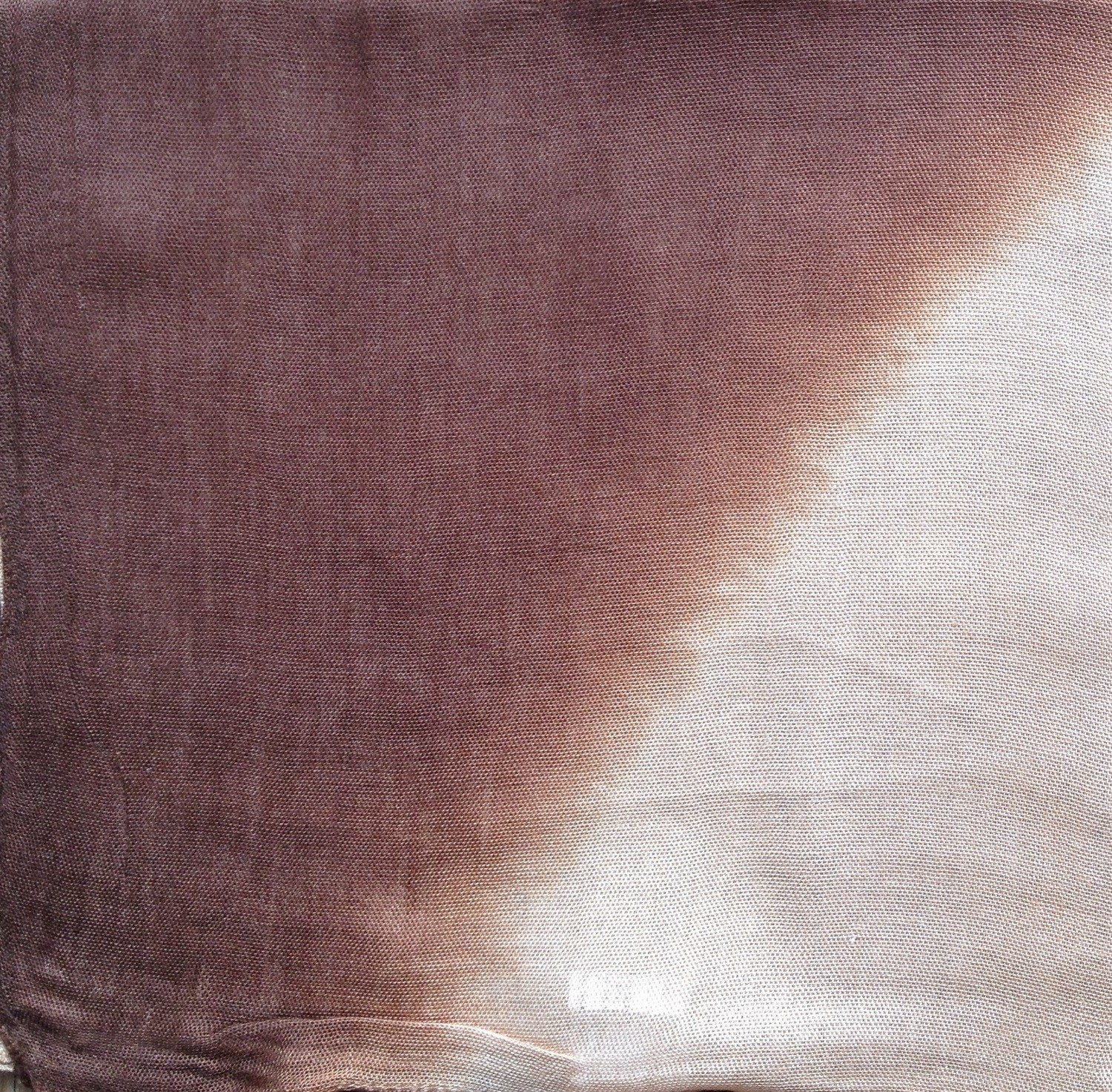Brown and beige two tone tie dyed tichel