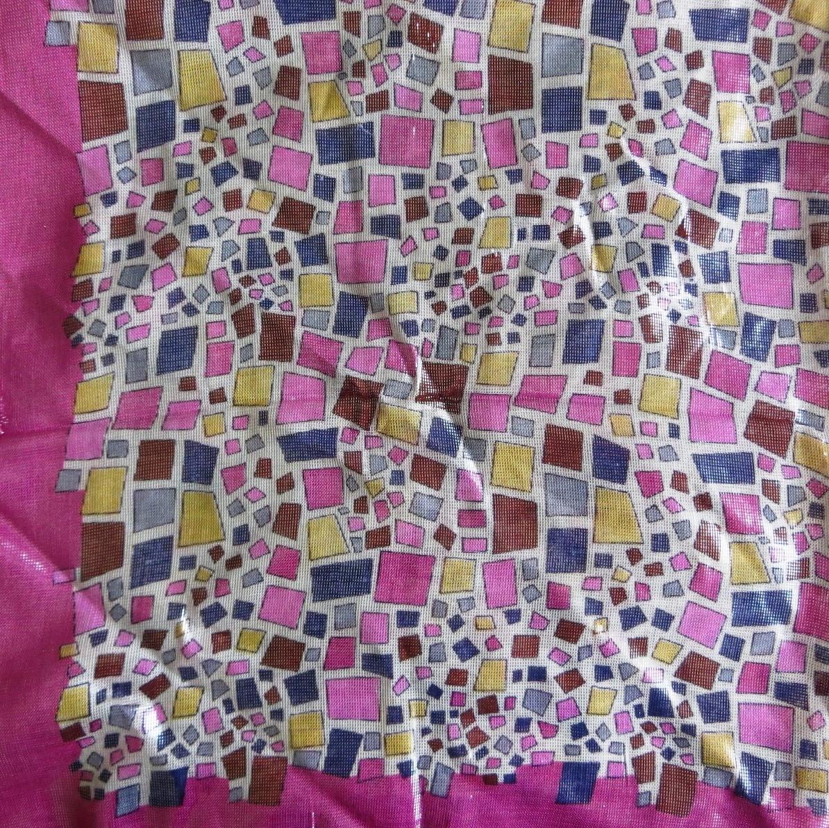 Deep pink funky shapes shimmer tichel